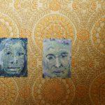 Gesichter, Gouache auf Pappe